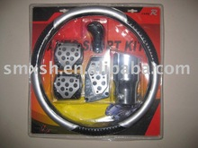 car universal steering wheel cover brake pedal pad shift knob muffler