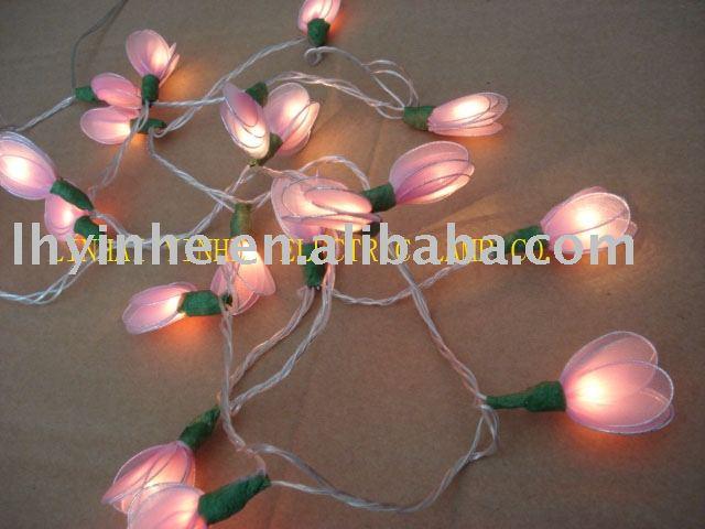 De color rosa gardenia arroz cadena de lámpara de luz / de la navidad LED luces del árbol de flor, Decoración para el hogar, Comercial