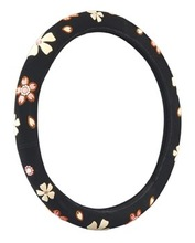 suede car steering wheel cover with colorful flower