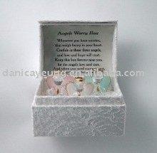set of 3 mini glass angel in gift box