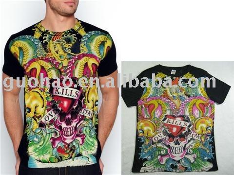 "See larger image: Colorful Mens Tshirt,Tattoo Mens Tshirt,Fashion Tshirt,Designer Tshirt,Mens Top,Mens Tees,Summer Wear ""Love Killls Slowly"""