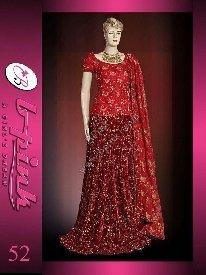 Pakistani Bridal Dresses( Red - Mahroon Velvet - Jamawar Lengha )