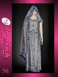 Pakistani Bridal Dresses(Royal Blue - Grey Katan Silk Lengha)