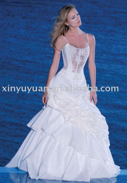 Sexy corpete parte transparente de vestidos de noiva vestido de noiva com cinta de espaguete wd217