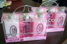 hair conditioner & shower gel & shampoo in metal rack & pvc box