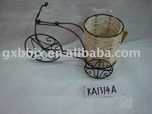 Round nature rattan storage basket with black wire bike