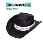 black straw cowboy hat with white band