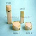 plaza de acrílico cosméticos tarro de crema y loción botella