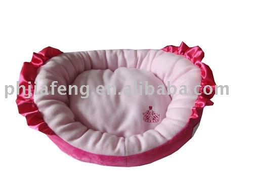 pink comfortable cotton plush dog bed