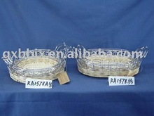 White rattan and silver wire shallow decoration ear hanging plate
