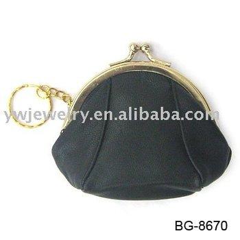 Fashion black cotton fabric ladies purse