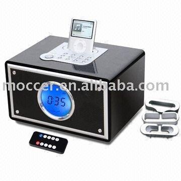 Wooden Pll Alarm Clock Radio Speaker With Ipod Dock Buy