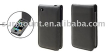 Anti-shock Flip Black Soft Leather Case for Apple iPhone 3G