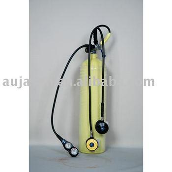 Yellow steel oxygen tank for scuba diving