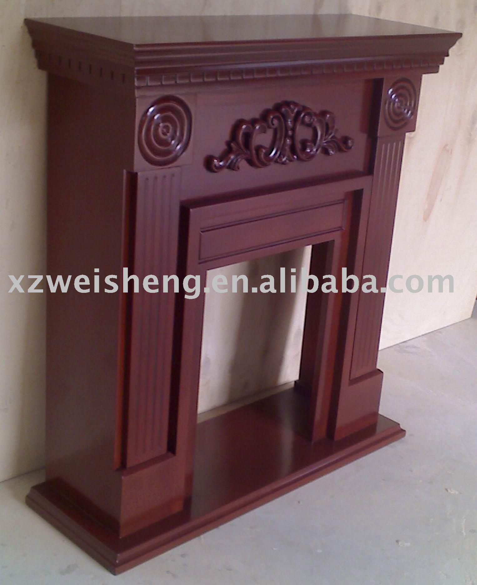 El ctrico de madera maciza repisa de la chimenea chimeneas - Como hacer chimeneas decorativas ...