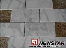 Tumbled white marble mosaic tile
