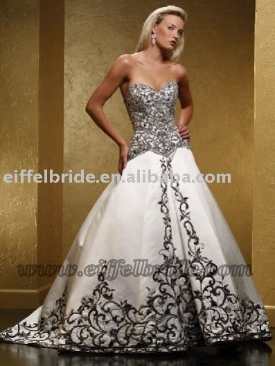 QA08030 black embroidered white classic satin wedding dress