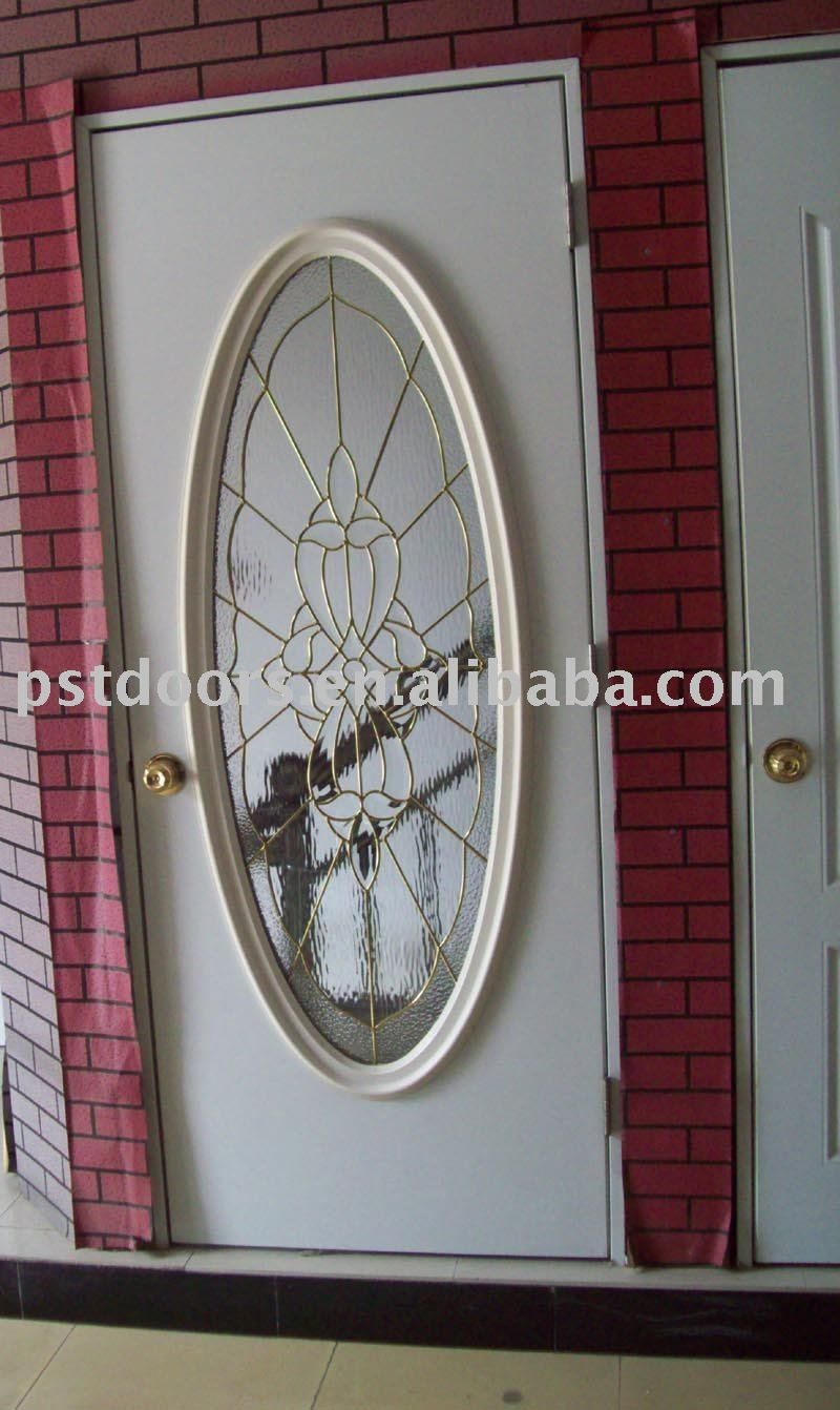 Flush Steel Door With Full Oval Glass Insert Tempered Glass Metal Door View