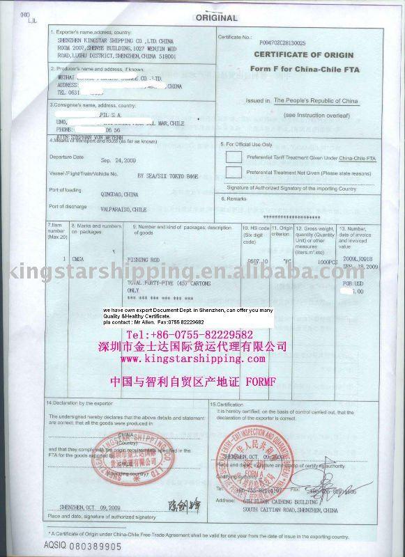 Certificate Of Origin Template China