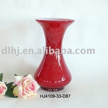 Tall Glass Vase in Red