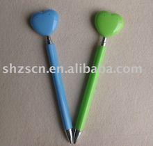 promotion ball pen/heart shaped pusher plastic pen/thin plastic ballpen