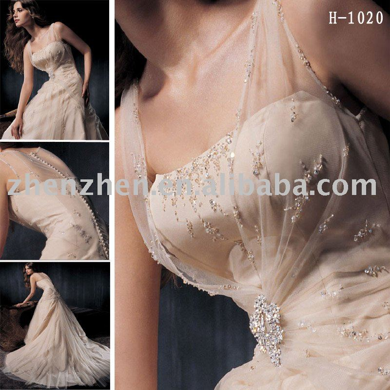 H1020 zhenzhen organza overlay champagne wedding dress with beading