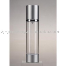 Airless plastic cosmetic bottle with Aluminum cap and bottom