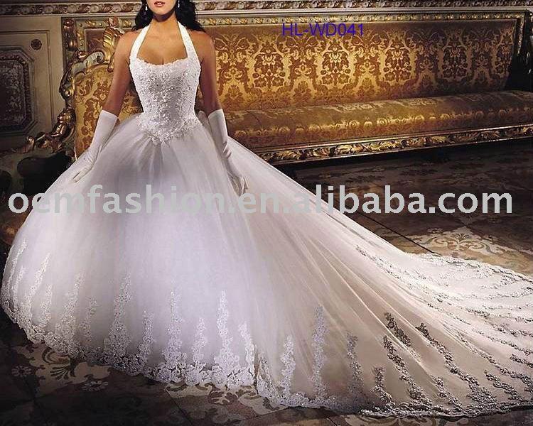 Empire Ball Gown Long train Bridal Wedding Dress HLWD041