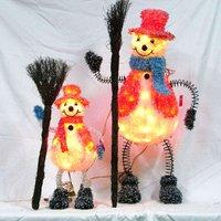 silk thread and pvc ice crystal snowman,with spring leg,take a broom