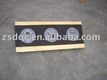 three modules mutimedia connector socket,black glass panel,golden frame