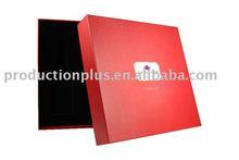 Luxury gift boxes made of paper & flocked foam insert for wine & glasses