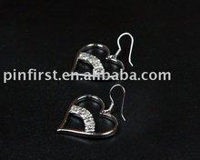 New Alloy Rhinestone Earrings Heart