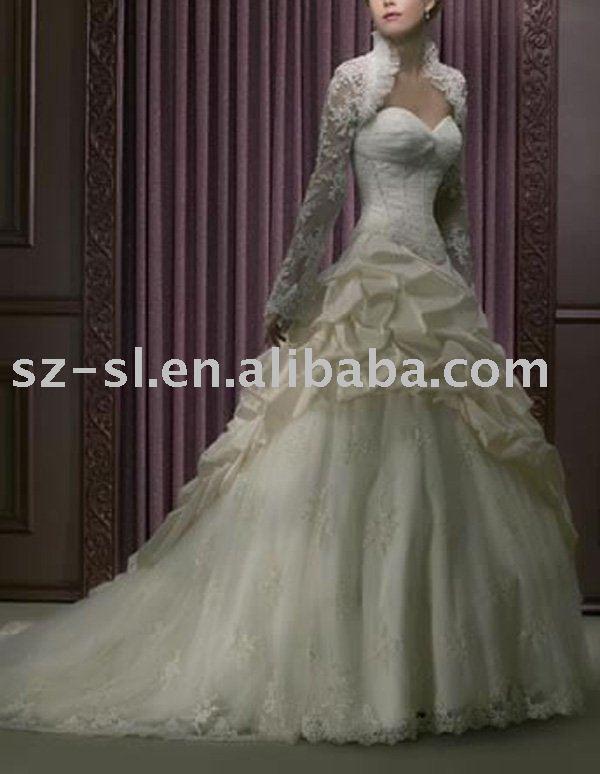 Long sleeve Cheap Wedding Gown Bridal Wedding Dress SLA934