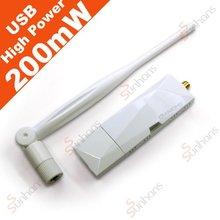 High power USB card 200mW WiFi range booster w/ antenna