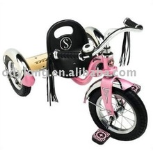 Pink baby stroller with three wheels