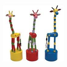 Wooden Animal push puppets,Wooden push finger TOY,Pop-up giraffe wooden puppet