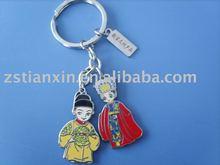 imitate enamel metal lovers key chain/couple key chain/wedding key chain