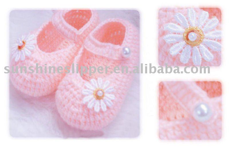 Tejido a mano de zapatos de bebé ( material especial para baby )