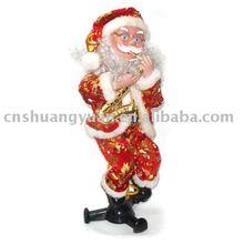 xmas santa claus playing saxophon/christmas ornament