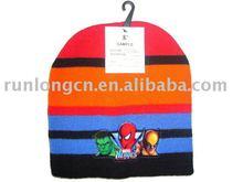 boy's winter beanie hat with pvc badge-RL-HA-075