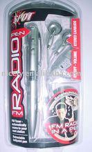 fm radio pen with volume control earphone