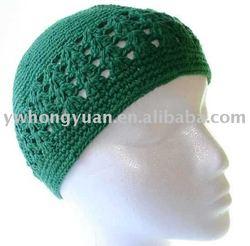 Knit Kufi Hat - Koopy Cap - Crochet Beanie (Black) at
