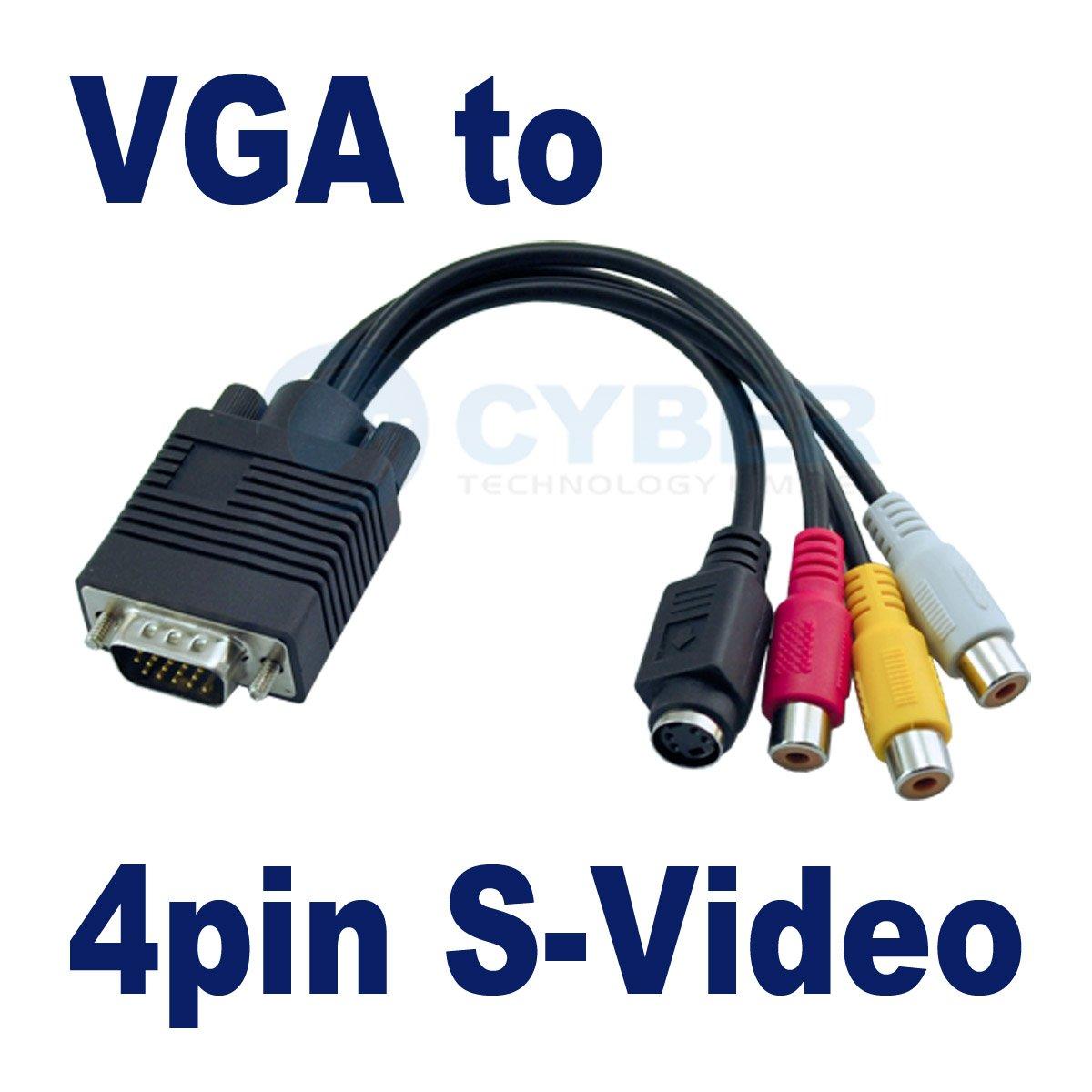 Vga Adapter Cable Vga to S-video 3 Rca Adapter
