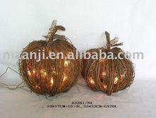 Lighted Rattan Halloween Pumpkin
