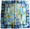 SR-374 Lady's fashion floral printed square silk scarf satin 12m/m