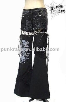 PUNK RAVE Gothic unisex black trousers K-060