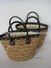 JOYA 20100543 ---sea grass straw handbag +PU handle and top edge + lining