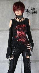PUNK RAVE gothic/punk flare sleeve long T-shirt T-148