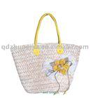 Plain corn husk straw handbag/lady bag with flower & yellow PVC handle & polyester lining with stripe
