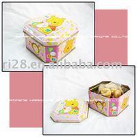 octagon candy tin box